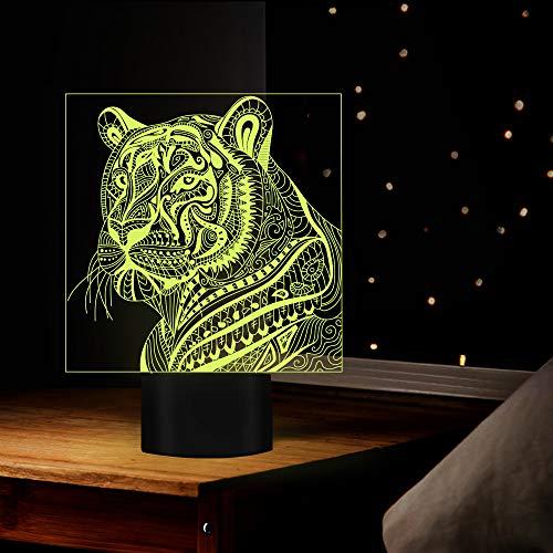 BHUIJN Statue Dekoration Kreatives Hauptzimmer-Nachtlicht Der 3D-Visionstigertischlampe