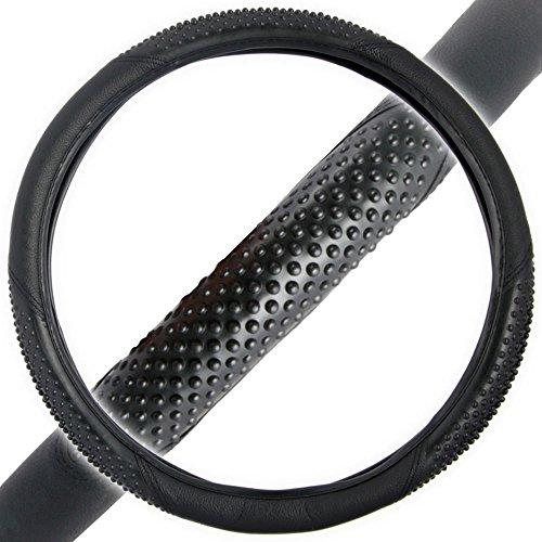 BDK Sporty Two Tone Ergonomic Grip Steering Wheel Cover - Massaging Gel Grip for Standard Size Wheels 14.5-15.5' (Black/Black)