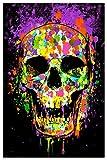 Studio B Splatter Skull Non-Flocked Blacklight Poster 24' X 36'