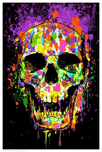 "Studio B Splatter Skull Non-Flocked Blacklight Poster 24"" X 36"""
