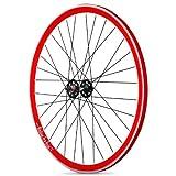 Rodi - Llanta para rueda trasera, color rojo/negro