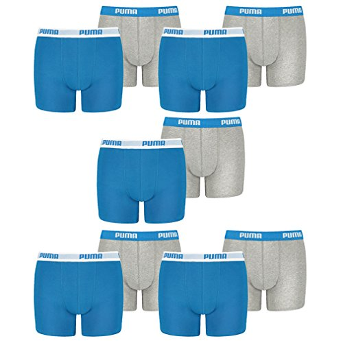 PUMA 10 er Pack Boxer Boxershorts Jungen Kinder Unterhose Unterwäsche, Farbe:417 - Blue/Grey, Bekleidung:164