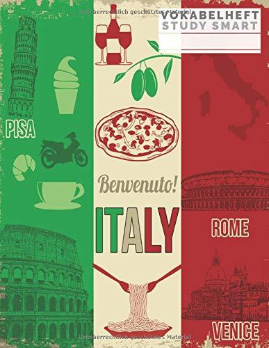 Vokabelheft: Großes Vokabelheft Italienisch / Italien (Sprachen lernen) Italienisch Flagge 3 Spalten System