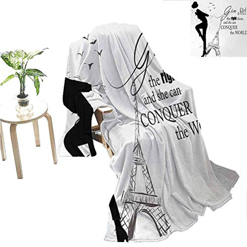 jecycleus Teen Room Luxury Special Grade Blanket Dancing Masculine Fashion Woman by Eiffel Tower and Motivational Quote Print Multi-Purpose use for Sofas etc. W70 x L90 Inch Black White