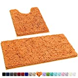 HOMEIDEAS 2 Pieces Bathroom Rugs Set Orange, Luxury Soft Chenille Bath Mats Set, Absorbent Shaggy Bath Rugs & Slip Resistant Plush Carpets Mats for Tub, Shower, Bathroom