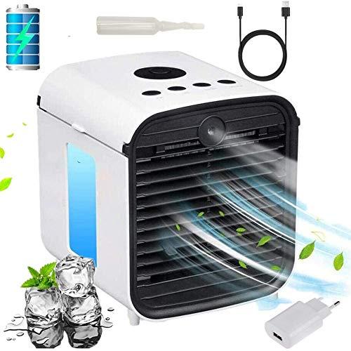 Nifogo Mini Luftkühler, Verdunstungsluftkühler, 4 in 1 Air Cooler Luftbefeuchter Luftreiniger, Tragbarer Air Conditioner und Ventilator, 7 Stimmungslichter (Ba+Adapter)