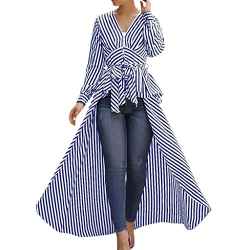Linkay T Shirt Damen Langarm BluseUnregelmäßiger Streifen Tops Krawatte Oberteile Mode 2019 (Blau, Small)