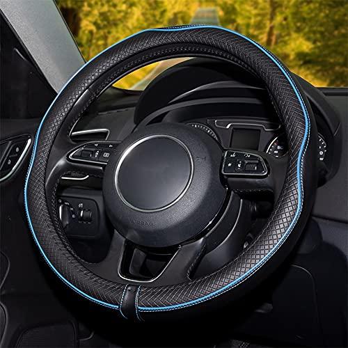 Funda Volante Coche, Cubierta de Volante de Cuero de Microfibra, Antideslizante Suave Universal 38 cm/15 Inch Protector Automóvil Adecuado para Todas Las Estaciones Elegante (Azul Claro)
