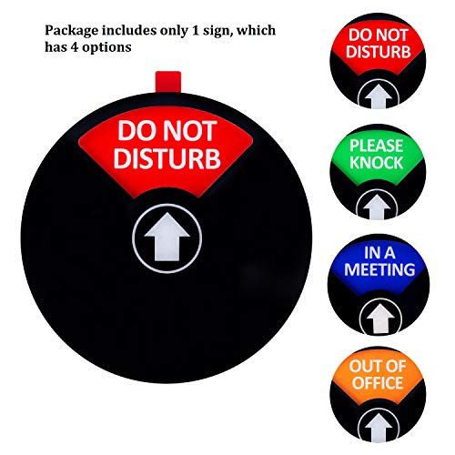 Kichwit Privacy Sign, Do Not Disturb Sign, Out of Office Sign, Please Knock Sign, In a Meeting Sign, Office Sign, Conference Sign for Offices, 5 Inch, Black Photo #7