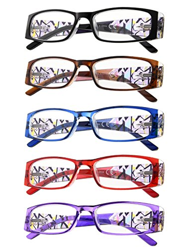 5-Pack Aeropittura Reading Glasses with Spring Hinges for Womens