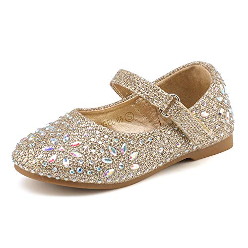 Dream Pairs ANGEL-66 Mary Jane Bailarina Plana Rhinestone para Niña Dorado 20 EU/4 US Toddler