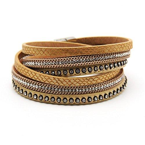 Damen Frauen Mädchen Wickelarmband Strass Armband Armschmuck Leder Glitzersteinen Magnetverschluss Armreifen (Khaki)