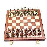 Juguete de ajedrez, juego de ajedrez plegable de madera portátil, juego de mesa plegable de bronce de metal educativo, juego de mesa de ajedrez dedicado, caja de regalo de alta gama de ajedrez, para