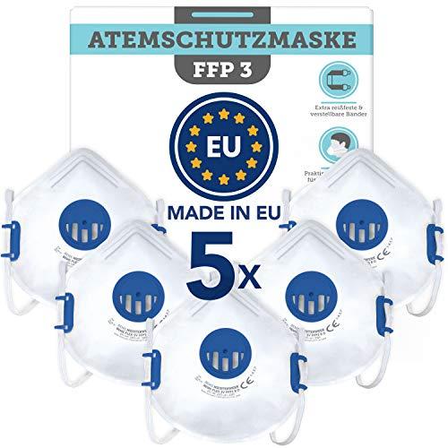 Atemschutzmaske FFP3 wiederverwendbar (5 STK.) Made in EU CE zertifiziert (EN149:2001+A1:2009) - Premium Maske mit Ventil für zuverlässigen Atemschutz gegen feste (Asbest) und flüssige Partikel