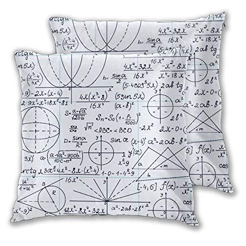 VINISATH Juego de 2 Fundas de Cojín,School Genius Smart Student Matemáticas Geometría Ciencia Números Fórmulas Imagen Arte,Cuadrado Suave Funda de Almohada Sofá Sillas Cama Hogar Decoración 45