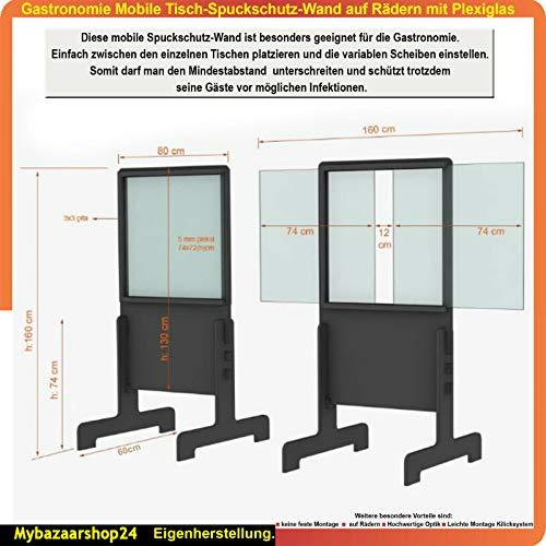 Times Mobile Spuckschutzwand auf Rädern mit Plexiglas (Anthrazit)
