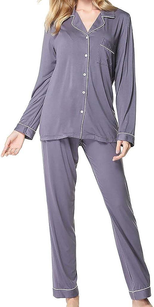 OPAKY Pantalones de Manga Larga para Mujer Pijamas Botón ...