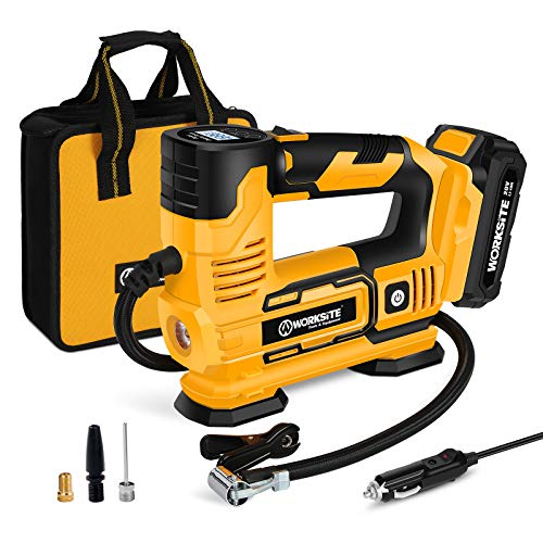 Tire Inflator Air Compressor Portable, 20V Cordless Tire Pump 150 PSI with Digital Pressure Gauge, Rechargeable Li-ion Battery and 12V Car Power Adapter, WORKSITE