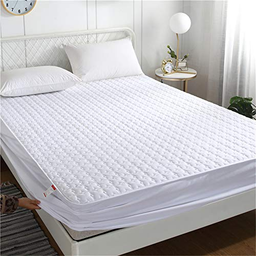 YCDZ Funda protectora de colchón, antialérgica, transpirable, antiinsectos y ácaros, sin olor, apto para todo tipo de cama (cuadrado blanco, 150 x 190 x 20 cm)