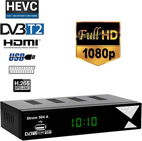 Strom 504 Décodeur TNT Full HD DVB-T2 - Compatible HEVC264 - (HDMI,Péritel, USB, Digital Plus) Noir