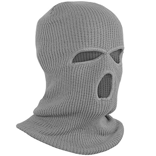 TRIXES Pasamontaña para Hombres - Pasamontaña de 3 Agujeros - Máscara térmica - Máscara para Invierno – Abrigo para Cuello - Pasamontaña máscara de esquí - Máscara Bally - - Talla única - Color Gris