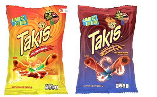 New Takis Limited Edition Flavors Volcano Queso and Takis Scorpion BBQ Try Combo Pack (Two 9.9oz bags)