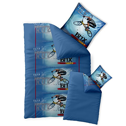 CelinaTex Fashion Fun Kinderbettwäsche 155 x 220 cm 2teilig Baumwolle Bettbezug BMX blau