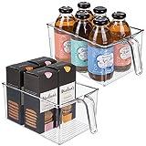 mDesign Juego de 2 cajas de almacenaje de plástico – Ideales para la cocina, el armario o como organizador de frigorífico – Caja organizadora de diseño abierto con asa incorporada – transparente