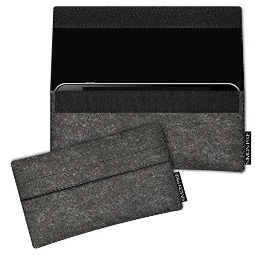 SIMON PIKE Hülle Tasche kompatibel mit Samsung Galaxy S8 Active | Filztasche Newyork in 1 anthrazit aus Filz (echtem Wollfilz) Handyhülle