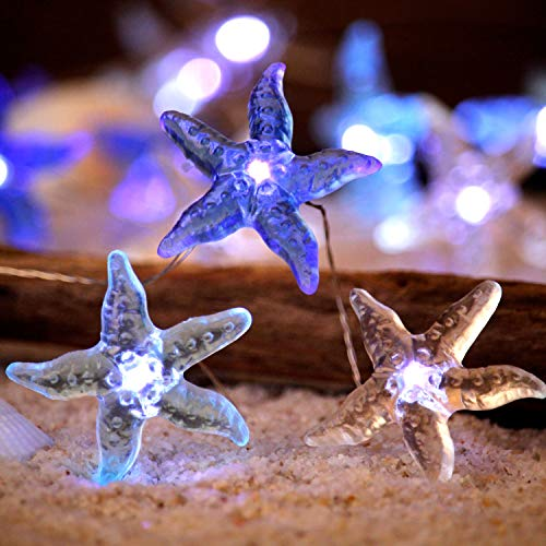 Impress Life Ocean Themed Decorative String Lights, Starfish Beach Sea Lights with Remote 10 ft 30 LEDs for Covered Outdoor, Summer Camping, Wedding, Birthday, Bedroom, Office, Home, Parties Ornament