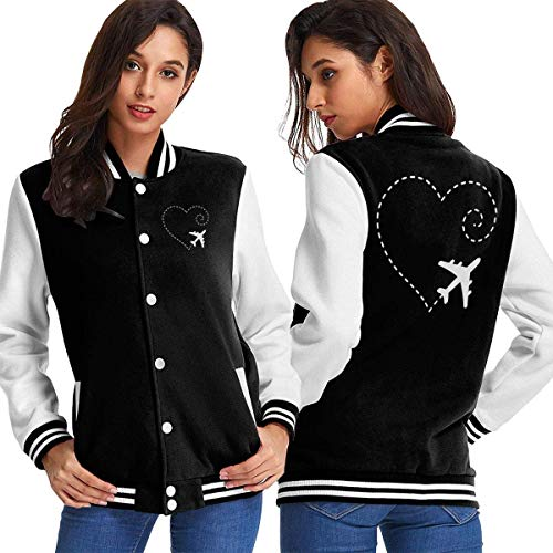 BYYKK Mujer Chaquetas Ropa Deportiva Abrigos, Airplane Drawing A Heart Shape-1 Women's Long Sleeve Baseball Jacket Baseball Couples Jacket