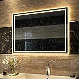 Duschdeluxe Badspiegel Lichtspiegel 80 x 60 cm LED Spiegel Wandspiegel nergieeffizienzklasse A++ mit...