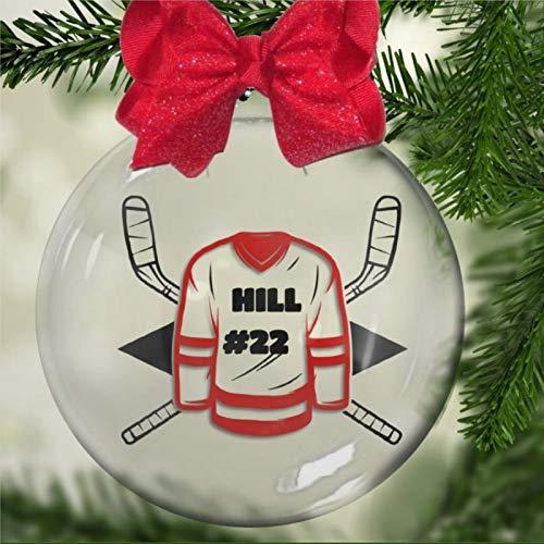 DONL9BAUER Hockey-Jersey personalisierte Acryl-Weihnachtskugel, Weihnachtsbaum-Ornament mit Geschenken für Kirchenmitglieder, Urlaub, Familie und Freunde.