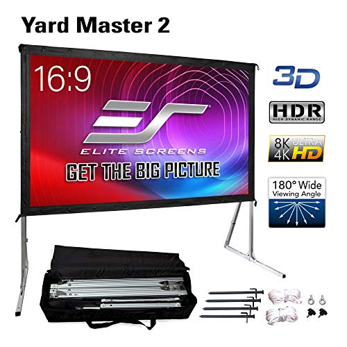 Elite Screens Yard Master 2, 120 inch Outdoor Projector Screen with Stand 16:9, 8K 4K Ultra HD 3D Fast Folding Portable Movie Theater Cinema 120' Indoor Foldable Easy Snap Projection Screen, OMS120H2