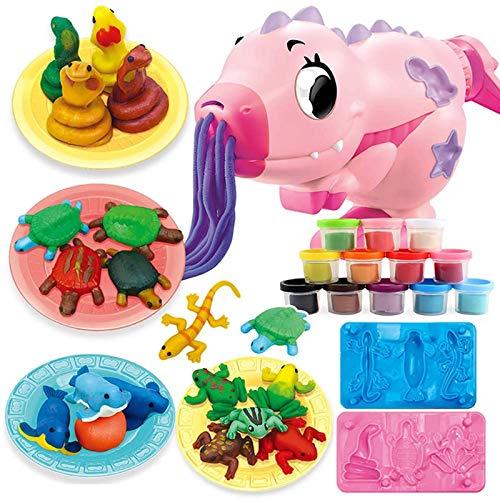 NINI Dinosaurio Colorido Juguete de Arcilla, Juego de Cocina de Cocina a Mano de Bricolaje para niños, plastilina Fideos Maker Molde de Vacaciones Regalo de cumpleaños