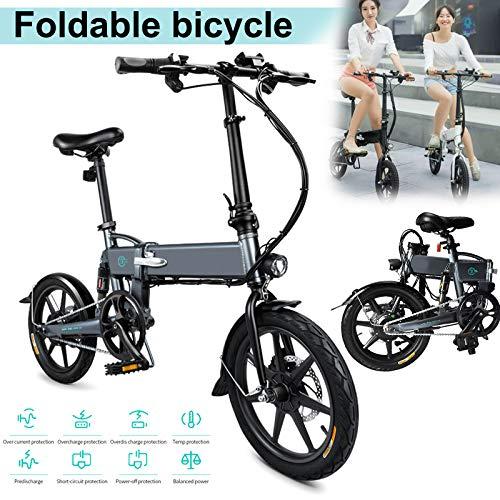 Tincocen 1 Stück E-Bike Faltbares E-Bike für Erwachsene Elektrisches Faltrad Faltbares Fahrrad Verstellbare Höhe Tragbar zum Radfahren, 16 Zoll Reifen 250W