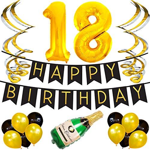 Sterling James Co. 18. Happy Birthday Girlande – Schwarz & Gold Deko Geburtstag, Luftballons, Pom Poms und Spiralgirlande Silber – Party Zubehör