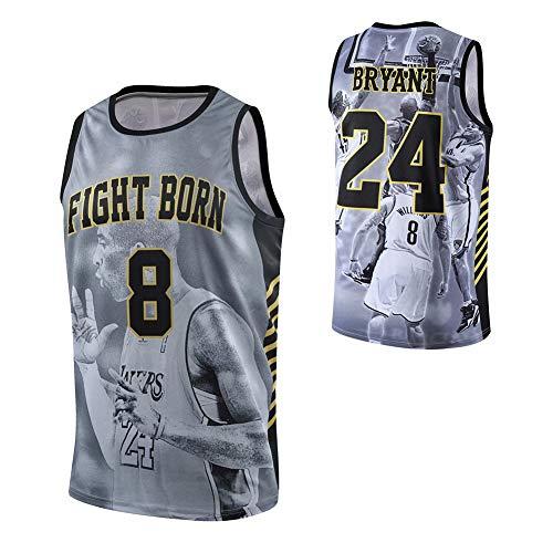 Lakers #8/24 Kobe Basketball Trikot, Retired Gedenk-Basketballweste T-Shirt, Street Style, Front #8, Back #24 Gr. XXL, Schwarz