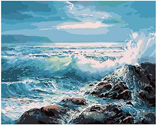 Serthny Schilderen op nummer, doe-het-zelf golven schatten tegen de rots geschilderd zee scène 40 * 50 cm vulling schilderij voor beginners, schilderen op cijfers set met penseel kleuren en canvas Home Decoratieve