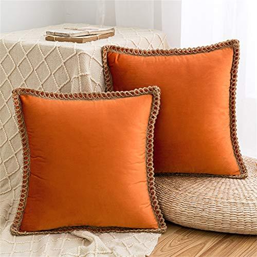 HAUSEIN Lot de 2 housses de coussin décoratives en velours - Style pastoral - Couleur unie - Doux et confortable - Pour le salon, la chambre à coucher, le canapé - 45 x 45 cm - Orange