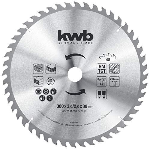 kwb 593059 - Lama per sega circolare, 300 x 30 mm, per seghe circolari da tavolo, denti alternati per taglio medio, Z-48, 300 x 30 mm
