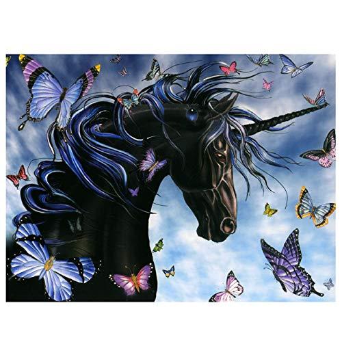 KBIASD 5D Diy taladro cuadrado completo pintura de diamante punto de cruz mariposa caballo bordado de diamantes mosaico decoración del hogar regalo-30x40 cm sin marco