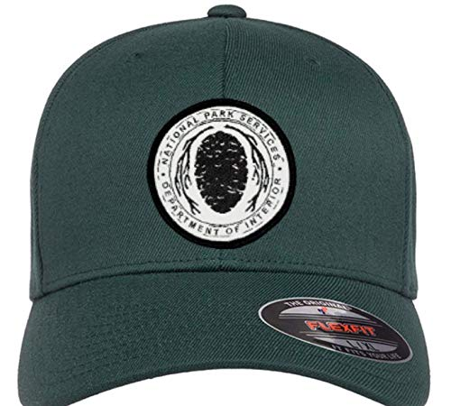 """National Park Service Flexfit Hats with Sequoia Cone Woven NPS Patch Unisex (Green, S/M (6 3/4"""" - 7 1/4""""))"""