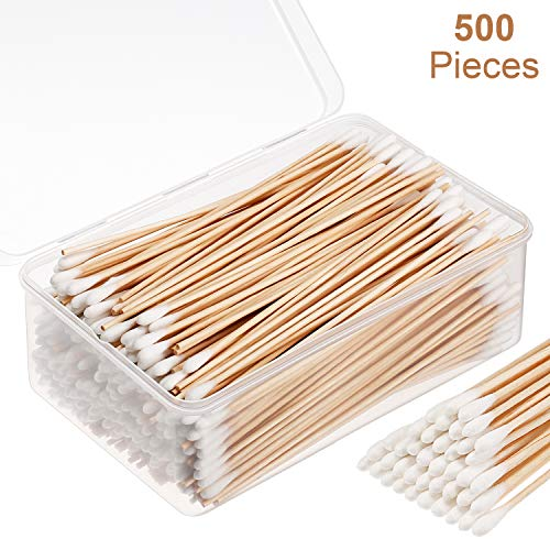 Norme 500 Pieces Cotton Cleaning Swabs, Pointed/Round Tip with Wooden Handle Cleaning Swabs Cotton Buds for Jewelry Ceramics Electronics in Storage Case (6 Inch, Round Tip)