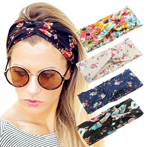 Price comparison product image 4 Pack Women Headband Boho Floal Style Criss Cross Head Wrap Hair Band Set1