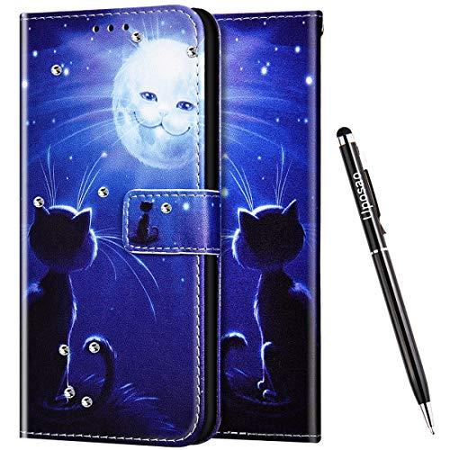 Uposao Kompatibel mit Samsung Galaxy A70 Hülle Leder Handyhülle Glitzer 3D Bling Strass Diamant Wallet Hülle Klapphülle Brieftasche Schutzhülle Flip Case Magnetisch Kartenfach,Katze
