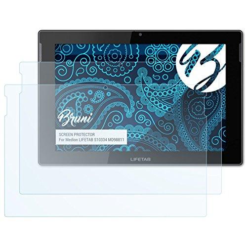 Bruni Schutzfolie kompatibel mit Medion LIFETAB S10334 MD98811 Folie, glasklare Displayschutzfolie (2X)