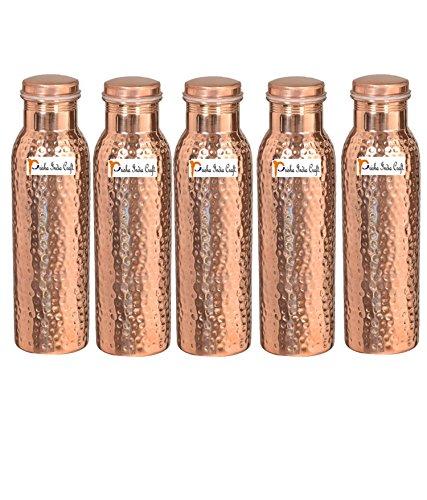 1000 ml/958,5 gram – Ensemble de 5 – Prisha Inde Craft® – Cuivre martelé Bouteille d'eau | Joint gratuit, meilleure qualité de bouteilles d'eau – Cadeau de Noël faite à la main