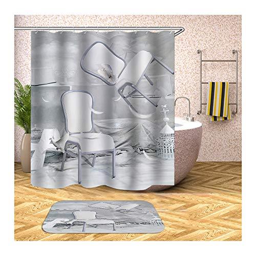 MaxAst Badematte Und Duschvorleger Set Bunt Stühle Weiße Tauben Duschvorhang Anti Schimmel Badezimmerteppich Polyester Badewanne Vorhang 150x180CM