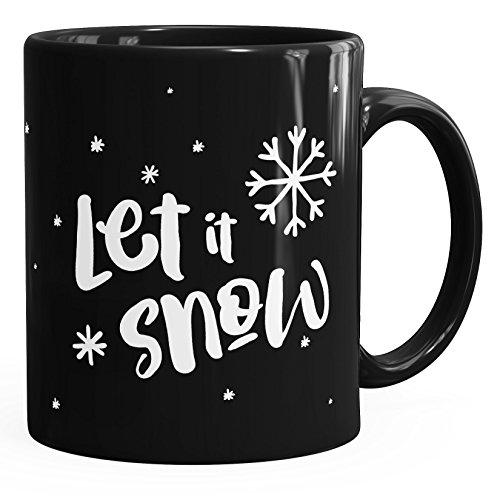 Autiga - Taza de Navidad, diseño de copos de nieve, cerámica, Let It Snow 1 - Zapatillas de deporte, color negro, talla única